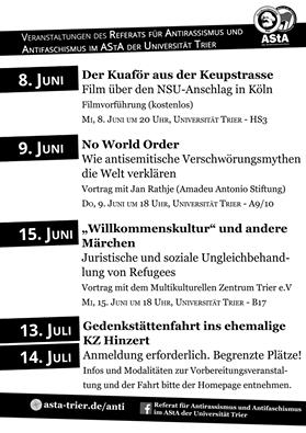 Die Veranstaltungen des Referats für Antirassismus und Antifaschismus der Universität Trier